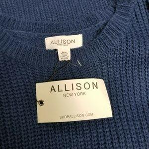Allison Sweaters - Allison Navy Blue Ruffled Cold Shoulder Sweater